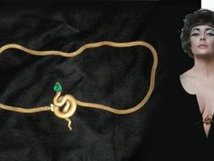 """Elizabeth Taylor wearing famous Gold Snake Belt in """"Cleopatra"""" Jewelry by Joseff of Hollywood"""