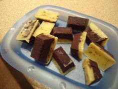 """""""High Fat Low Carb Chocolate Butter Cream Bombs"""" // """"One 100gm chocolate bar (85% or 90%), One 250gm block of butter, 45ml double cream, 15 or 30ml honey and some vanilla. Melt, pour in to an ice cube tray, freeze, pop out of tray while frozen, keep in fridge until consumed, not very long...  It partly settles out unless you are very careful with temperatures but tastes none the worse for that."""""""