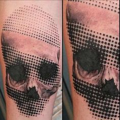 Halftone Skull Tattoo
