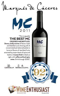 Marqués de #Cáceres MC 2011 - THE BEST - 92 points - Wine Enthusiast