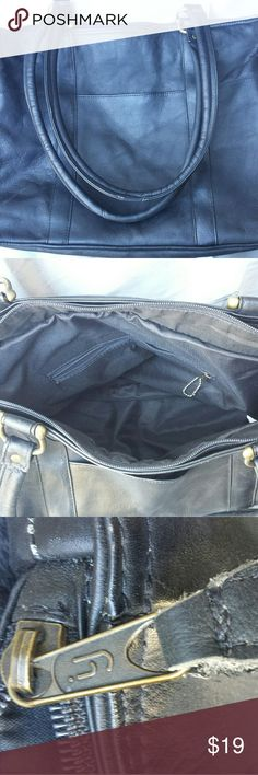 Large Black Genuine Leather Bag - Purse. Genuine Leather Black  Handbag / Purse. This bag is 12 ×15 x 6 . Has two outside pockets and two inside pockets. Both with zipper. Really Large Very Clean inside and out. Straps  alow you to carry this over your shoulder. For some reason there is a YN written on the inside Does not take away from the niceness of this purse. Is large enough to hold a Laptop. Bags Shoulder Bags