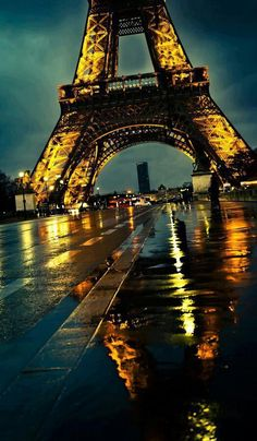 photography lights street city water rain paris wet