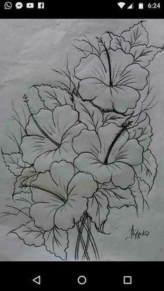 Best Pics Hibiscus dessin Suggestions Improve sultry hibiscus regarding a large, vivid appearance in your yard, porch or perhaps patio. Pencil Art Drawings, Drawing Sketches, Drawing Pin, Fabric Paint Designs, Flower Sketches, Painting Patterns, Fabric Painting, Flower Art, Watercolor Art