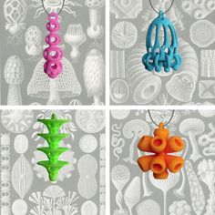 Organic, intricate and sometimes whimsical earrings designed using CAD software. 3-D printed out of nylon and then I dyed. http://www.atomicearrings.com/