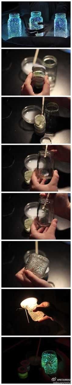 Haha I could see a potential use of this idea :P prom date asking, romantic date...leave the lights on, then turn them off and your date will see! :D DIY glow in the dark spots in a jar, use glow in the dark paint to paint spots in the interior of the jar. The jar can glow after it has been exposed to light for a few minutes.