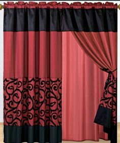 "1 Pair of Candice black with burgundy Window curtain set including 2 panels 60x84"" each by sheetsnthings. $32.99. Easy Care- Machine Washable. Sheer backing and valance are attach to the curtain.. Fabric content 100 % polyester. Each panel size: 60-inch x 84-inch in inch. 18-inch valance drop.. Each curtain set include 2 panel and 2 tie back.. Window treatments add refinement and style to otherwise dull, boring windows. Shutters and awnings decorate the outside of your house,..."
