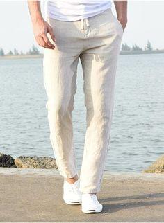 Linen Pants Outfit, Linen Pants For Men, Gents Kurta, Moda Casual, Casual Pants, Elastic Waist, Men's Beach Outfits, Foto Fashion, Hippie Pants