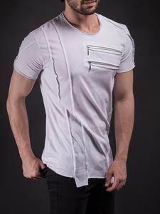 SAW Men Asymmetrical Zippers T-shirt - White