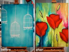Canvas before & after- a Donna Downey Art. LOVE how she transitioned an old unfinished art piece into a colorful canvas beauty!