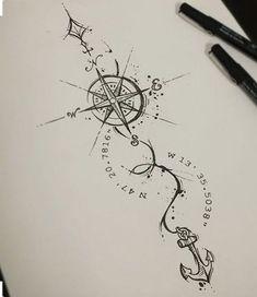 Ideas For Tattoo Frauen Kompass Mandala – Mandala Tattoo – Fashion Tattoos Trendy Tattoos, Small Tattoos, Tattoos For Guys, Cool Tattoos, Tatoo Compass, Compass Tattoo Design, Compass Drawing, Simple Compass Tattoo, Compass Art