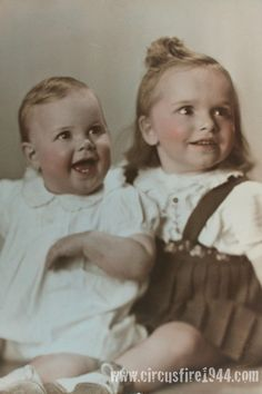 Rochelle Helene Prost perished in Hartford circus fire on Jul. 6, 1944. Perished 4 months before she reached her 4th year. The baby in the left survived.
