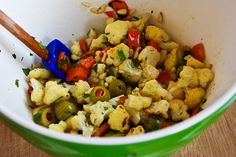 ... Roasted Cauliflower with Red Bell Pepper, Green Olives, and Pine Nuts
