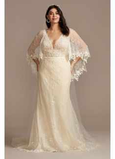 Lace Plus Size Wedding Dress with Trimmed Capelet 8MS251224 Wedding Dress Trends, Bohemian Wedding Dresses, Bridal Wedding Dresses, Wedding Dress Styles, Bridal Style, Wedding Dress Capelet, Curvy Wedding Dresses, Bridesmaid Dresses, Bride Dresses