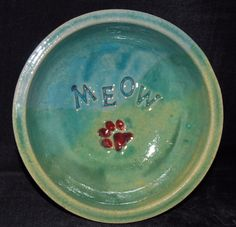 Cat Feeding Dish or Water Bowl Blue Green for by Bigdogpots, $14.00