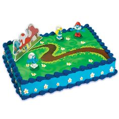 Smurfs Cake Topper Includes (1) cake topper. Weight (lbs) 0.13 Length (inches) 3.5 Width (inches) 6 Height(inches) 1.5
