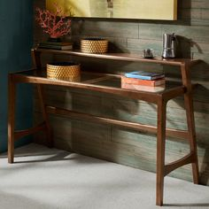 Revive your living space with the mid-century modern design of the Zinus Console Table. This wooden table has a pecan finish and a tempered glass top. Wooden Console Table, Modern Console Tables, Wooden Tables, Mid Century Console, Diy Furniture Projects, Decorating Coffee Tables, Modern Retro, End Tables, Consoles