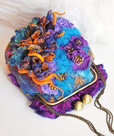 OOAK Purple Felted Bag Felt Handbag Artistic Purse Blue Nunofelt Bag Nuno felt Bead Embroidery multicolor floral fantasy Fiber Art Flowers by ShellenD on Etsy