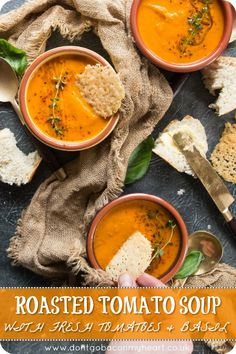 This Roasted Tomato Soup with Fresh Tomatoes and Basil truly is the ultimate soup! Simple to make and bursting with flavour, this homemade soup is perfect for any occasion. tomato soup Roasted Tomato Soup with Fresh Tomatoes and Basil Roasted Tomato Soup, Roasted Tomatoes, Chicken Tomato Soup, Roast Tomato Soup Recipe, Tomato Soups, Roasted Vegetable Soup, Vegan Tomato Soup, Vegan Soups, Roasted Carrots