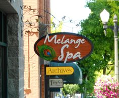Hand-crafted cedar sandblasted sign at Melange Spa in Fairhaven