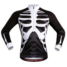 High Quality Skeleton Pattern Breathable Quick Dry Cycling Long Sleeve Jersey For Unisex