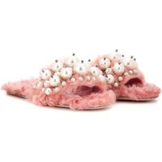 Miu Miu Embellished Faux Fur Slippers (38,285 THB) ❤ liked on Polyvore featuring shoes, slippers and pink