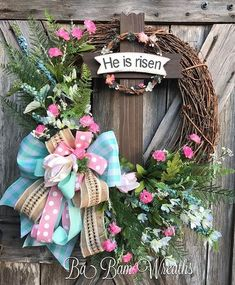 He Is Risen #home #babamwreaths #springdecor #easterdecor #etsy #etsyshop #etsyseller #jesuscalling #christiandecor #jesus #handmade #wreaths #wreathmaker #homedecor
