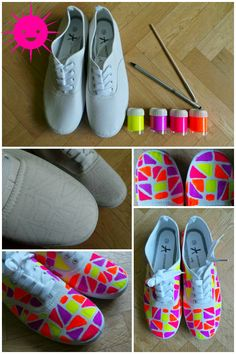 12 Fashionable DIY Projects You Won't Miss - Pretty Designs Diy Fashion Shoes, Fashion Fashion, Fashion Ideas, Sharpie Shoes, Shoe Makeover, 80s Theme, Diy Accessoires, Diy Mode, Embellished Shoes