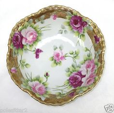 """Antique Hand Painted Nippon Large Pink Red Roses Gold 9 1/2"""" Porcelain Bowl AsIs"""
