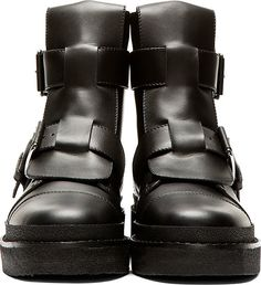MARNI, BLACK LEATHER ANKLE BOOTS.