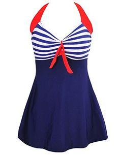 f7f7a1b187672 Newest Sexy Stripe Padded Halter Skirt Swimwear Women One Piece Swimsuit  Beachwear Bathing Suit Swimwear Dress Plus Size Item Type  One PiecesSport  Type