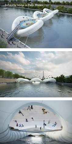 Inflatable bridge in Paris!