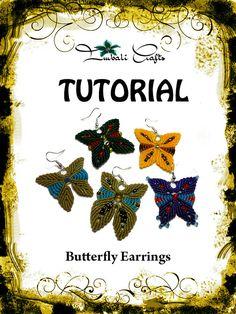 TUTORIAL  Butterfly Earrings  Macrame earrings by ImbaliCrafts