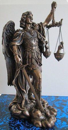 St Saint Michael Archangel weighing Souls in Scales Statue Figure Archangel Gabriel, Archangel Michael, Saint Michael Statue, Archangel Raguel, St Micheal, Angel Clouds, Angel Warrior, Angel Statues, Catholic Art