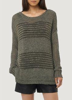 Shadow Stripe Boatneck Sweater by Vince