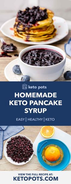 pancake recetas The Best Homemade Keto Pancake Syrup (Low Carb) - Keto Pots Best Keto Pancakes, Low Carb Pancakes, Healthy Pancake Syrup, Keto Syrup Recipe, Low Carb Keto, Low Carb Recipes, Blueberry Syrup, Homemade Syrup, Peanut Butter Fat Bombs