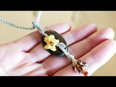 Pendant idea - Macramé Flower with Stone | Macrame School - YouTube