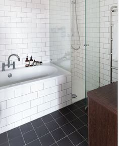 like the square floor tile with the sunway tile combo, either bath