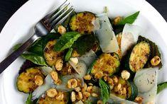 Zucchini & Hazelnut Salad: Another Yotam Ottolenghi Salad Winner! Ottolenghi Salad, Ottolenghi Recipes, Salad Recipes, Healthy Recipes, Zucchini, Salads, Meat, Chicken, Food