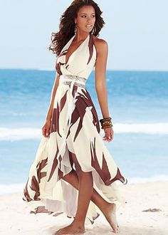 Belted print maxi