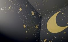 a night time ceiling mural on navy blue... my son had this type of ceiling when he was young, along with an outer space theme