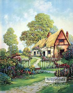 Contentment's Gateway, Art Print by Harry Hadland. Love Your Art and Own It! Shop high quality art prints, framed art and art posters at ArtPrintsAndDecor. Printed in the USA with guaranteed satisfaction. Watercolor Landscape, Landscape Art, Landscape Paintings, Watercolor Art, Vintage Landscape, Storybook Cottage, Cottage Art, Belle Image Nature, Spring Landscape