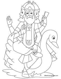 Lord Brahma coloring page Children Drawing, Art Drawings For Kids, Outline Drawings, Pencil Art Drawings, Drawing For Kids, Art Sketches, Coloring Pages For Kids, Coloring Sheets, Colouring