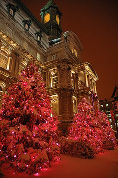 Christmas in Hotel de ville Montreal, Old Montreal, Canada. Love to visit this fun city!