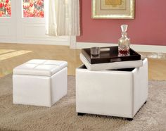 Ottoman W/ Flip-Top Tray Adel Collection