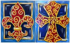 Scrolly  fleur de lis - painting with a twist