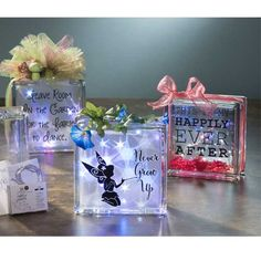 A glass block is a creative way to display inspiration! Add our special designed vinyl sayings for glass blocks and you are on your way! Makes a great gift.