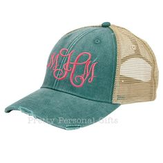 a2ef627efc0 Trucker Hat - Baseball Hat with monogram - distressed with tan mesh back -  12 hat colors