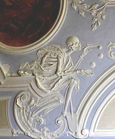 Death blowing bubbles - Bamberg (Bavaria), Holy grave Chapel in St. Michael: Oil Painting by Moritz Beckeradt by Jakob Gebhard, stucco by Johann Georg Leinberger, Memento Mori, Blowing Bubbles, Vanitas, La Danse Macabre, Dance Of Death, Desenho Tattoo, 3d Studio, Inspiration Art, Gothic House