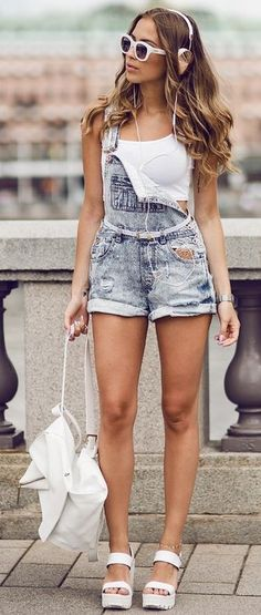 #summer #kenzas #outfits |  White Crop + Dungarees
