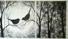 Free Shipping. Love Birds in the Trees. Black and by ArtbySimplyMe